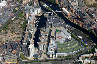 aerial photograph of Leeds  Dock, Leeds, Yorkshire UK including the Royal Armouries Museum. Leeds Dock was formerly called  New Dock and Clarence Dock.