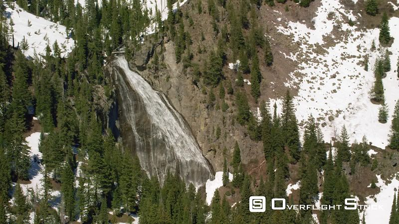 Ouzel Falls cascade down a dramatic rock formation on Ouzel Creek, in Yellowstone National Park
