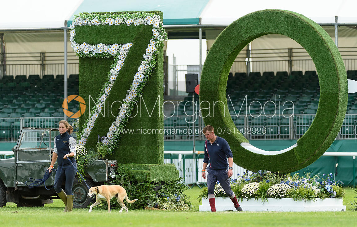 Piggy French, Matthew Heath walking the course at  Land Rover Burghley Horse Trials 2018