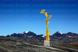 "Metal sculpture ""Evolución"" by Swiss-Bolivian artist Francine Secretan on hillside above La Cumbre, Cordillera Real, Bolivia"