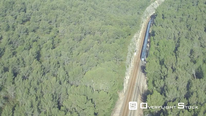 Aerial view of a Train arriving to Bandol, filmed by drone, Bandol, France