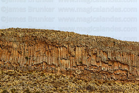 Columnar basalt formations just below summit of Cerro Monterani hill, near Curahuara de Carangas, Oruro Department, Bolivia