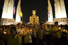 Democracy Monument Thailand at night on the kings birthday
