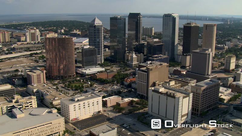 Aerial orbit of skyscrapers in downtown Tampa, Florida