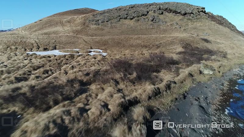 Aerial View of Volcanoes, Filmed by Drone, Myvatn Lake, Iceland