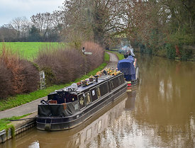 Narrowboats in winter