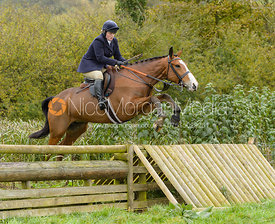 Kelly Morgan jumping the hunt jump at Peakes Covert