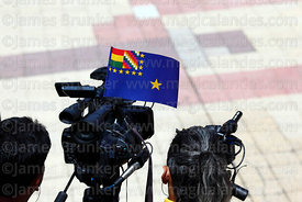 The Maritime Vindication flag on a TV camera during official events for Dia del Mar / Day of the Sea, La Paz, Bolivia
