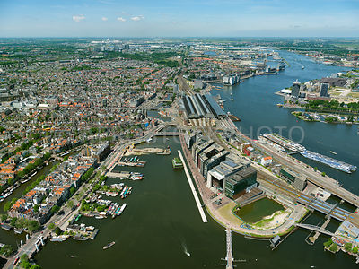 Amsterdam, the Oosterdok, Oosterdoks Island (Oosterdokseiland, ODE),  the Amsterdam Centraal Railway Station (Amsterdam CS) and the river IJ. Amsterdam, Netherlands