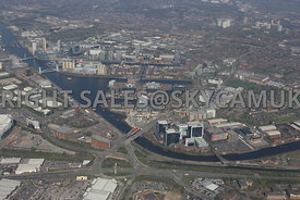Manchester wide angle view looking across the A56 Chester road towards Salford Quays and Media City