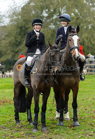 Hermione Brooksbank, Isobel McEuen at the meet - The Cottesmore Hunt at Manor Farm