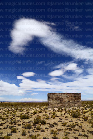 Restored stone and adobe chulpa at Pumiri, Oruro Department, Bolivia