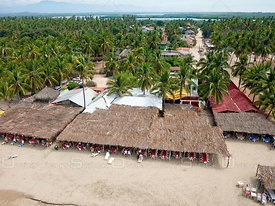 The village behind the beach at Barra de Potosi, Mexico.