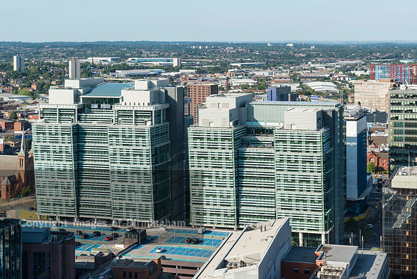 Aerial photograph of Birmingham City Centre, England. Snowhill office buildings