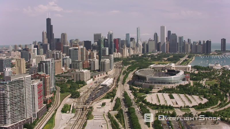 Chicago, Illinois Aerial shot of Soldier Field and downtown Chicago.  Shot with Cineflex and RED EpicW Helium.