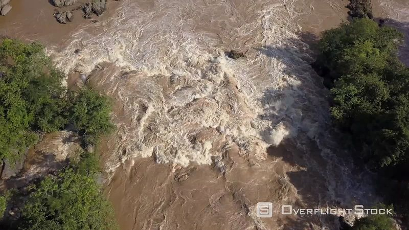 Flyover the largest falls in southeast Asia, the Li Phi falls (known as Khone Phapheng Falls) and the Mekong river, filmed by drone, Don Khone Island, Laos