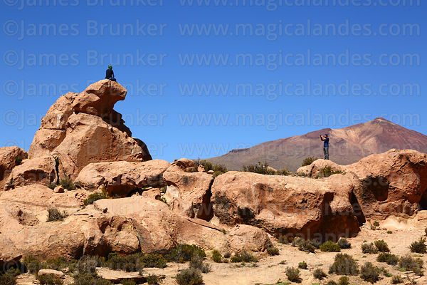 Tourists taking photos on eroded volcanic rock formations, Cerro Chuhuilla volcano in background, Nor Lípez Province, Bolivia