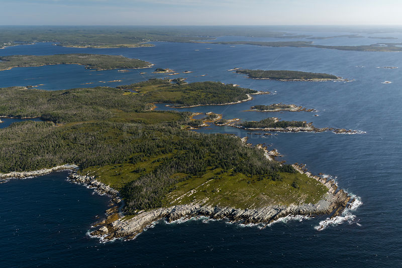 Aerial view of the Eastern shore of Nova Scotia, Canada, September.