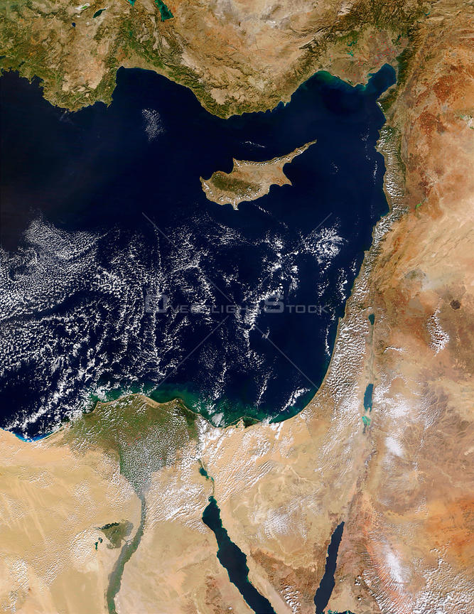 EARTH Middle East -- 10 Sep 2000 -- The coast of the Middle East and the Eastern Mediterranean Sea are visible in this NASA MODIS image