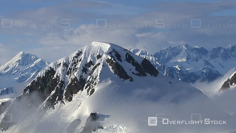 Alaska Mountains and Clouds, Aerial Footage