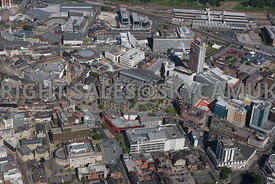 Sheffield aerial photograph looking across from Sheffield City Hall towards Peace Gardens and the Winter Gardens and St Pauls Place and the main railway station