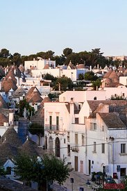 Elevated view of Trulli zone, Alberobello, Apulia, Italy