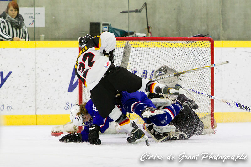 Diving in front of the goals to save the puck is ok for the Goalie but is likely to hurt if you're anyone else.