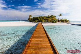 Wooden jetty on a tropical island, Maldives