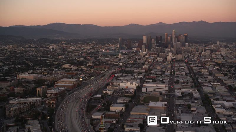 Approaching downtown Los Angeles in evening light. Shot in October