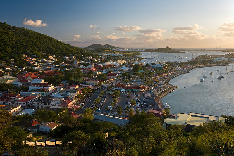 Elevated view over the French town of Marigot at dusk from Fort St. Louis, St Martin, Netherland Antilles, Leeward Islands, Lesser Antilles, Caribbean, West Indies 2008