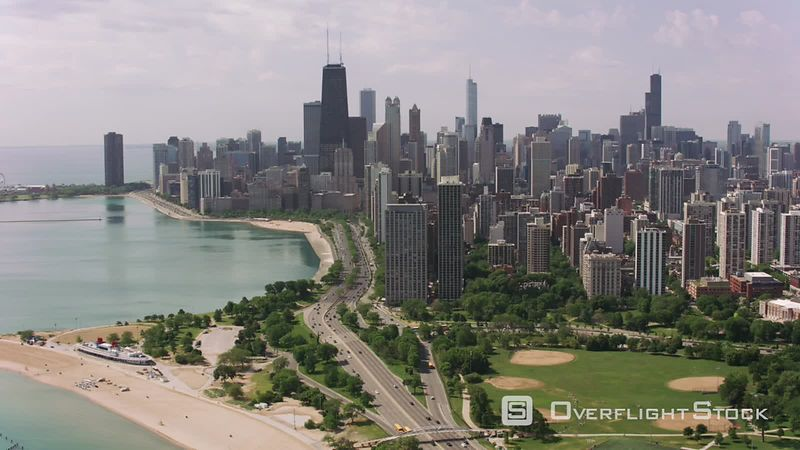 Chicago, Illinois Flying over North Avenue Beach towards downtown Chicago.  Shot with Cineflex and RED EpicW Helium.