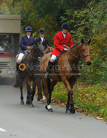 William Bevin, Louise Bevin - The Cottesmore Hunt meet at Oak House, Tilton On The Hill, Saturday 31st October 2015.