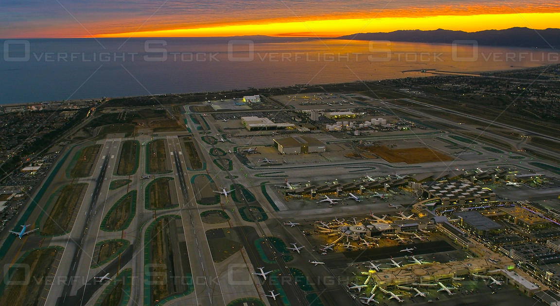 Aerial view of LAX Los Angeles International Airport, Los Angeles, CA, USA