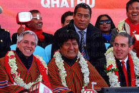 Bolivian president Evo Morales (centre) and vice president Alvaro Garcia Linera (left) during the cable car Red Line inauguration ceremony , La Paz, Bolivia