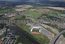 Port of Salford aerial photograph of the development of the UK first Trimodal inland port facility and distribution park adjacent to the Manchester ship canal