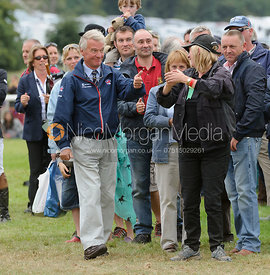 Yogi Breisner gives Frances Stead a thumbs up - show jumping phase, Burghley Horse Trials 2013.