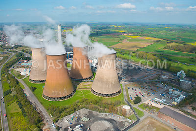 Aerial view of the cooling towers at Rugeley Power Station