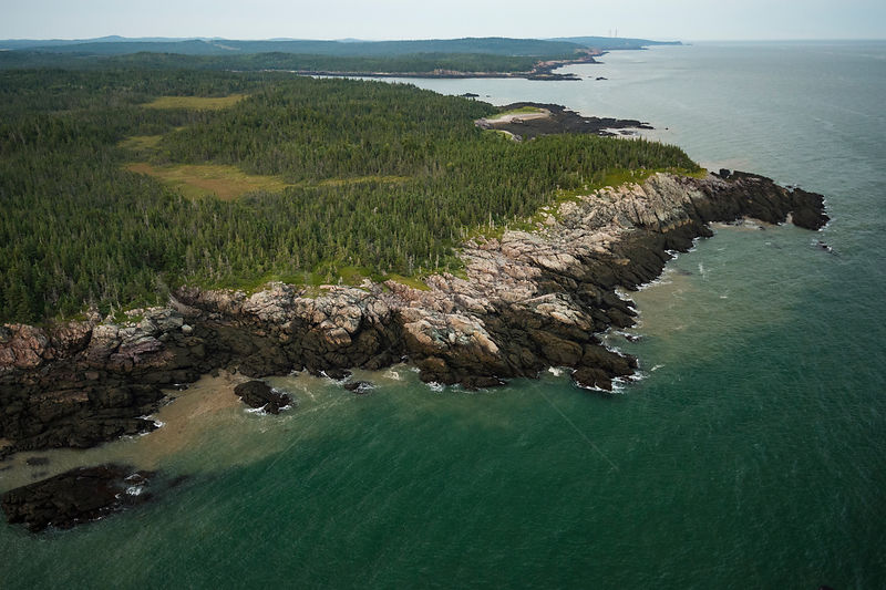 Aerial view of the Bay of Fundy coast in New Brunswick, Canada, August.