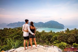 Young romantic couple looking at Ko Phi Phi island, Thailand