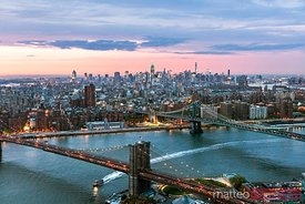 Aerial of Midtown Manhattan at dusk, New York, USA