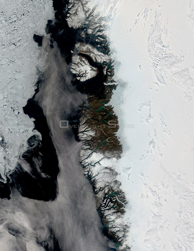 EARTH Greenland Ice Cap -- Jun 2005 -- What might at first be mistaken for a series of images showing the approach of summer on the edge of the Greenland ice sheet