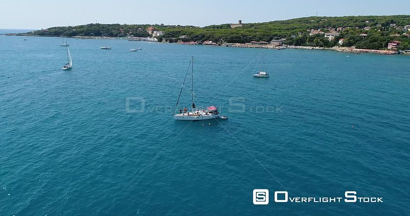 Sailboat Anchored off Castiglioncello Drone Video Italy