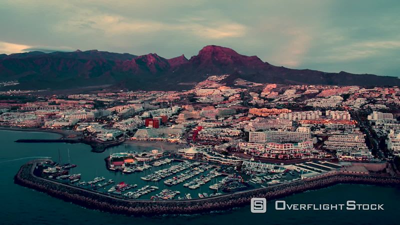 Port Puerto Colon at sunset, filmed by drone, Tenerife, Canary Islands