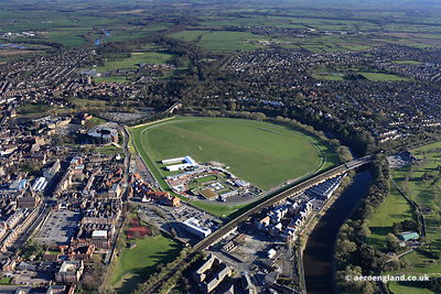 aerial photograph of Chester Racecourse, Cheshire England UK