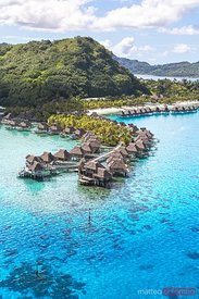 Aerial of overwater bungalows of Holton resort, Bora Bora, French Polynesia