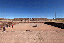 View over Sunken Temple, Kalasasaya temple in background, Tiwanaku, Bolivia