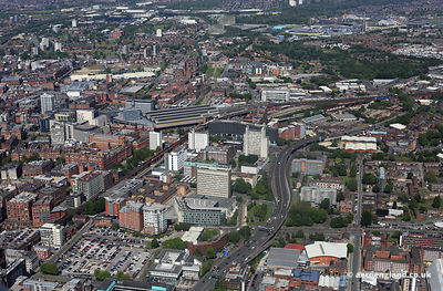 aerial photograph of the University of Manchester Institute of Science and Technology ( UMIST ) England UK.