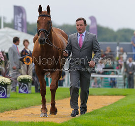 Michael Ryan and BALLYLYNCH ADVENTURE - The first vets inspection (trot up),  Land Rover Burghley Horse Trials, 3rd September 2014.