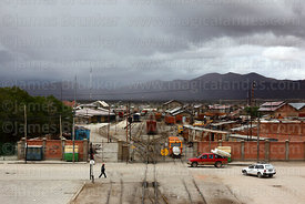 View over railway station and goods yard in rainy season, Uyuni, Bolivia