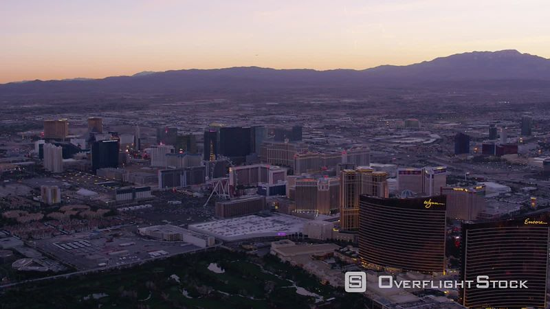 Las Vegas, Nevada Wide angle aerial view of Las Vegas Strip at sunset.  Shot with Cineflex and RED EpicW Helium.